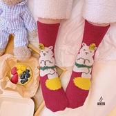 珊瑚絨保暖毛絨襪可愛少女心日系卡通襪子女中筒襪長襪【愛物及屋】