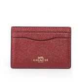【COACH】防刮皮革卡夾/名片夾(金屬酒紅色)F23339 IME42