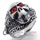 《 QBOX 》FASHION 飾品【R10020944】精緻龐克風鎖鏈骷髏頭鑄造鈦鋼戒指/戒環