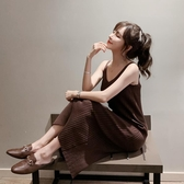 春裝新款修身針織吊帶洋裝女背心長裙中長款黑色內搭打底裙 伊衫風尚
