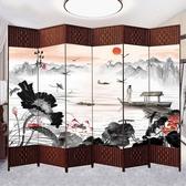 中式屏風隔斷簡易折疊客廳玄關墻移動折屏簡約現代辦公室實木屏風
