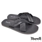 【marelli】經典交叉型男拖鞋 黑色(MRS02-BL)