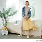 《DA7436》純色高含棉異材質拼接傘襬背心洋裝 OrangeBear