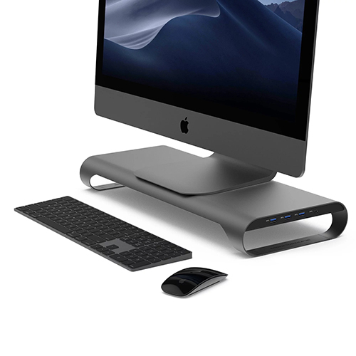 MonitorMate ProBASE C 鋁製 USB 3.0 多功能螢幕架 太空灰
