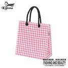 手提袋-編織袋(S)-桃紅白千鳥-03C