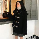 夏 2018新款女裝學生牛角扣毛呢大衣氣質長袖連帽保暖呢子外套潮 藍嵐