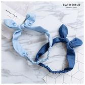 Catworld 兔耳朵牛仔布扭結髮帶【17001534】‧F*特價