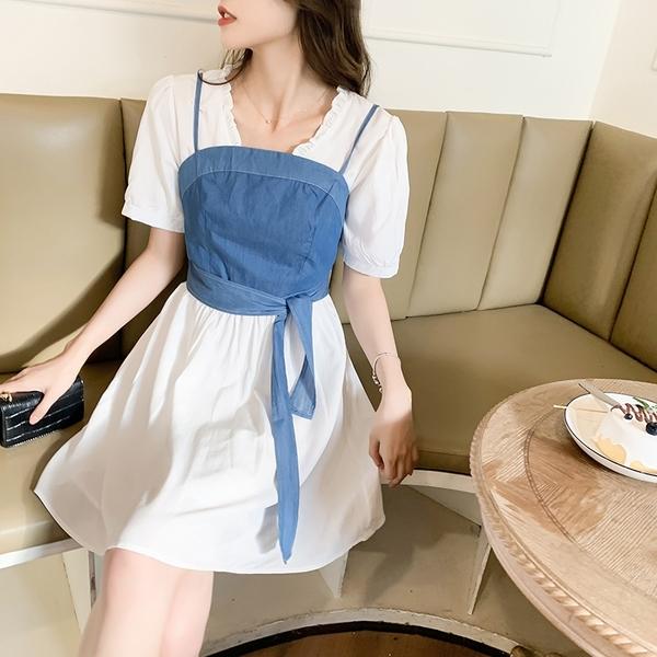 VK精品服飾 韓系可拆卸牛仔裹胸V領收腰連身裙套裝短袖裙裝