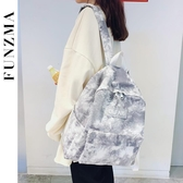 後背包古著感漸變後背包新款時尚書包女韓版高中ins背包大學生 夏季新品