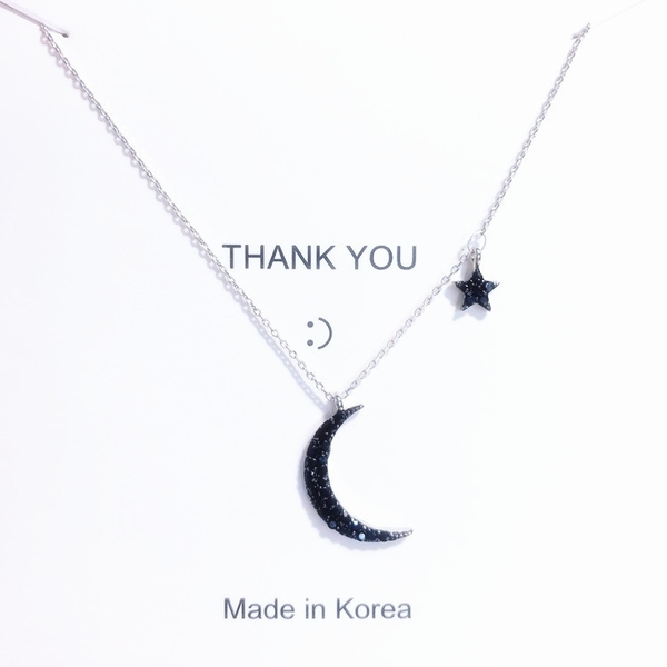 項鍊韓國時尚ins網紅黑鑽星月項鍊簡約個性冷淡風月亮鎖骨鍊女 俏女孩