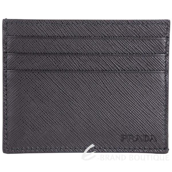 PRADA Saffiano 壓印LOGO防刮牛皮萬用卡片夾(黑色) 1720242-01