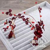 韓式新娘結婚紅色花朵發飾LVV2468【極致男人】