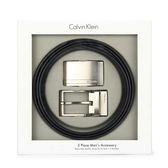 CalvinKlein 質感金屬LOGO雙釦皮帶禮盒(黑色)103477