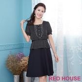 【RED HOUSE 蕾赫斯】方領點點拼接洋裝(黑色)