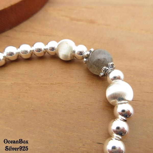 §海洋盒子§優雅灰月光石閃亮銀珠925純銀手鍊.彈性手鍊