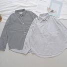 洋芋妹-正韓直條紋寬版長袖襯衫 2色【SA545998】
