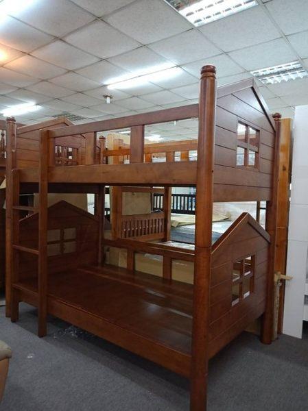 【新北大】Q80 全實木雙層床 樟木色 厚實穩固耐重~上下舖.上下床-2019購