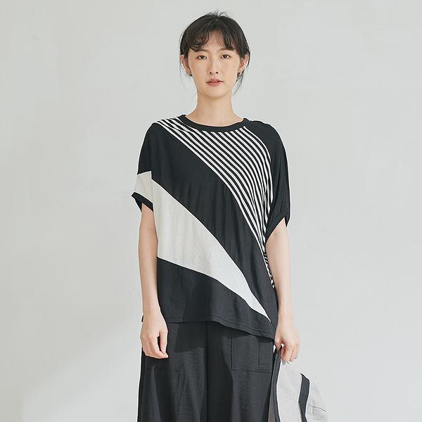 【慢。生活】設計師斜條拼接上衣 8153 FREE黑色