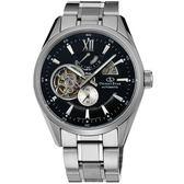 【台南 時代鐘錶 ORIENT】東方錶 SDK05002B OPEN HEART系列 鏤空機械錶 鋼帶款 黑色 41mm