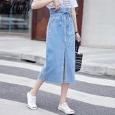 牛仔裙 2020流行夏天裙子仙女超仙森系牛仔裙適合胯大腿粗的半身裙中長款