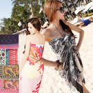 ◇方妮FaNi◇防曬海灘巾【沙龍圍紗裙罩衫】露背背心沙灘裙深V洋裝可內搭比基尼泳裝泳衣