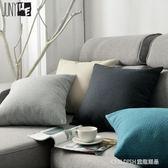 藤編紋純色簡約亞麻抱枕沙發靠墊靠枕套辦公室腰枕靠背墊 童趣潮品