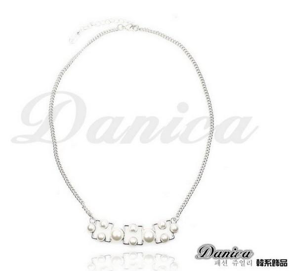 項鍊 現貨 正韓時尚氣質 幾何銀河 方塊 珍珠 項鍊 鎖骨鍊(2色) S2277 批發價 Danica 韓系飾品