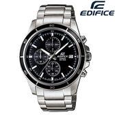 EDIFICE EFR-526D-1A 三眼錶黑色錶圈 不銹鋼 黑面 48mm 男錶 EFR-526D-1AVUDF CASIO卡西歐 石英錶