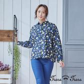 【Tiara Tiara】純棉排釦古典花繪襯衫上衣(藍/咖啡)