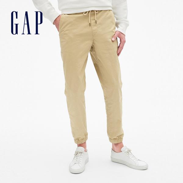 Gap男裝 彈力中腰斜紋束腿運動褲 357801-卡其色
