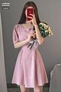 夏季新款韓國法式甜美方領高腰顯瘦百搭繫帶小個子短袖A字連衣裙