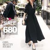 SISI【D8075】飄逸率性超長版雙口袋縮腰顯瘦長洋裝連身裙開襟襯衫外套罩衫外搭