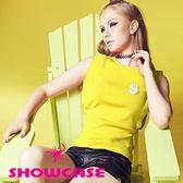 【SHOWCASE】個性袖接布S飾針織上衣(黃)