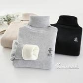 兒童毛衣男童高領加絨加厚套頭秋冬款針織衫女童白色黑棉線打底衫 Korea時尚記