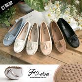 包鞋.粉嫩限定朵結流蘇超軟豆豆鞋(白、棕)-FM時尚美鞋-訂製款.firefly