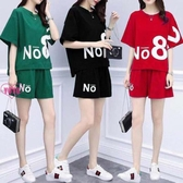 大碼休閒運動套裝女 兩件式短褲短袖套裝 6色(L-5L)