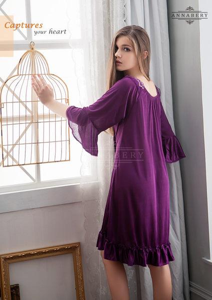 大尺碼 Annabery浪漫深紫七分袖柔緞睡衣  (OS小舖)