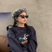 貝雷帽復古秋冬日系斑馬紋毛呢女畫家帽【少女顏究院】