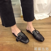 樂福鞋單鞋女春季新款女鞋韓版方頭豆豆鞋百搭低跟小皮鞋樂福鞋女 初語生活
