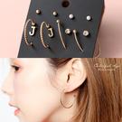 耳環組 玫金JJ字母圈圈水鑽珠珠耳針 C字氣質款 柒彩年代【NDK35】