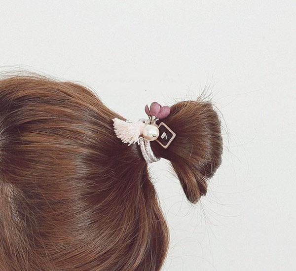正韓氣質小香香水花朵流蘇髮圈髮飾~夏綠蒂didi-shop
