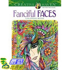 [ 美國直購 2016 暢銷書] Fanciful Faces Coloring Book (Creative Haven) Paperback
