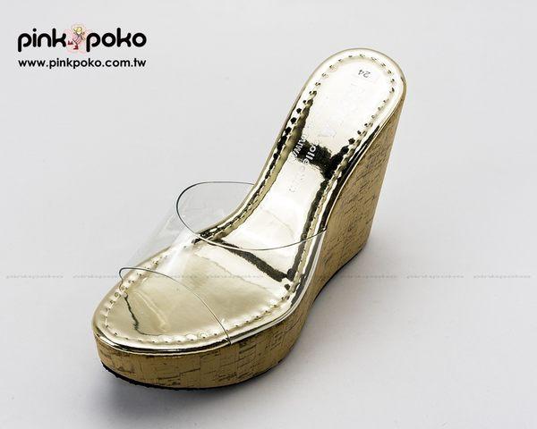 拖鞋 ☆PINKPOKO粉紅波可☆小奢華金屬光澤透明鞋面露趾魚口坡跟厚底楔型拖鞋~1色 #1128