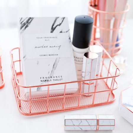 玫瑰金萬用收納籃(小方籃) 雜物籃 收納架 置物桶 置物籃 筆筒 刷具 桌面 收納 化妝品