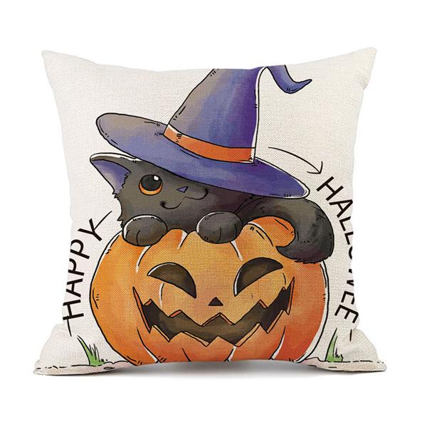【BlueCat】二代嚴選萬聖節系列白底黑貓幽靈棉麻抱枕腰枕套 枕頭套
