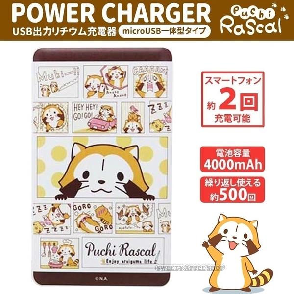 日本正版限定 小浣熊 Rascal 漫畫風 對話框  gourmandise  4000mAh 充電器 / 行動電源