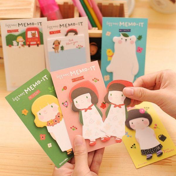 Qmishop 韓版文具 可愛圍裙女孩 卡通創意便條紙 便利貼 N次貼【QJ2163】
