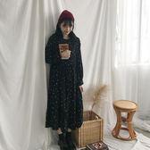 秋裝韓版女裝復古碎花波點長袖雪紡洋裝寬鬆顯瘦圓領打底魚尾裙 時尚芭莎