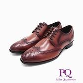 PQ(男)渲染小圓頭造型綁帶皮鞋 男鞋 -咖(另有黑)