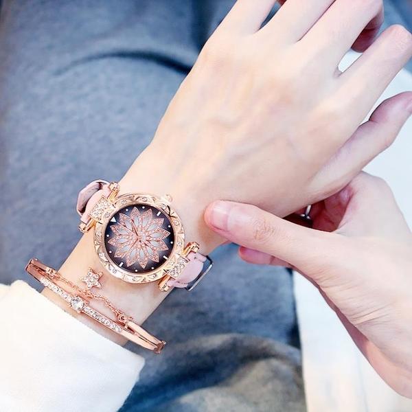 新款轉運錶時來運轉手錶女防水潮流旋轉女士網紅石英錶休閒 - 風尚3C